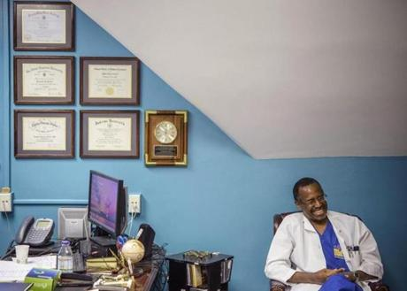 Dr. Ben Carson in his office in Baltimore in 2013.